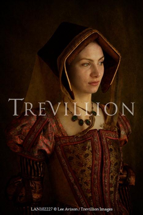 Lee Avison portrait of a tudor woman wearing a gable hood Women