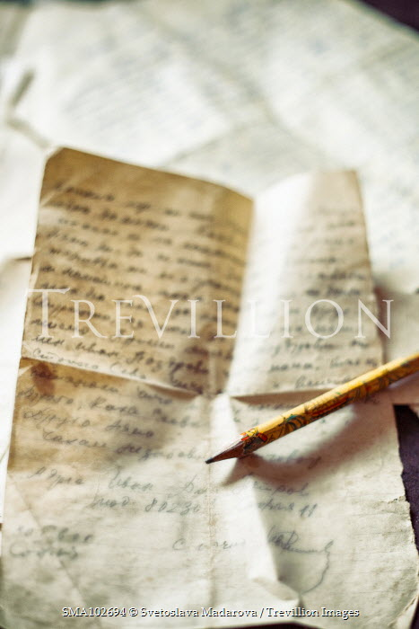 Svetoslava Madarova CLOSE UP OF OLD LETTERS WITH PENCIL Miscellaneous Objects