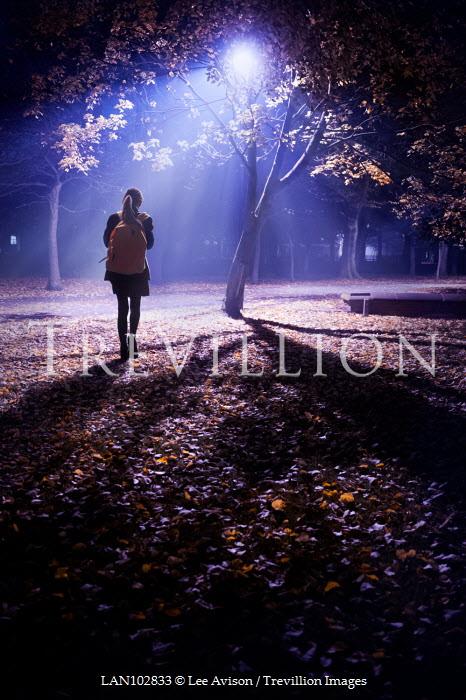 Lee Avison schoolgirl walking alone in a park at night