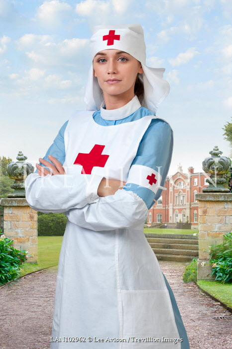 Lee Avison red cross nurse from world war one standing in hospital grounds