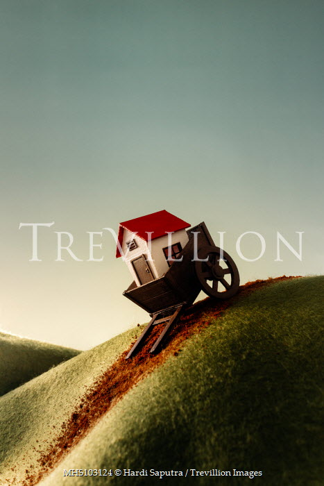 Hardi Saputra TOY HOUSE AND CART ON HILL Miscellaneous Objects