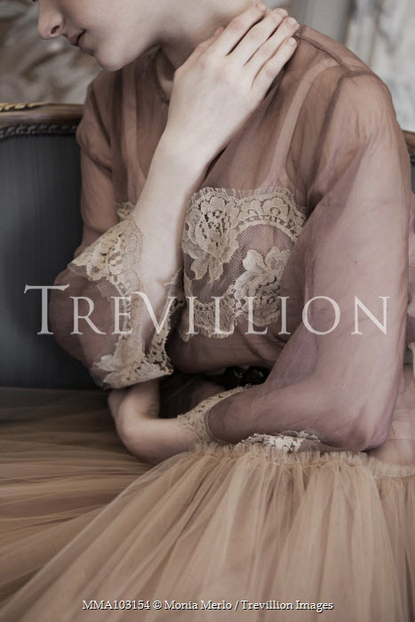 Monia Merlo SAD WOMAN IN SILK LACY DRESS Women
