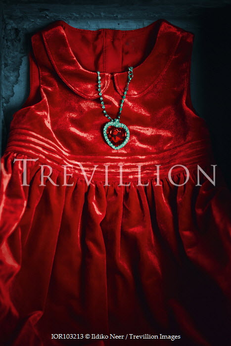 Ildiko Neer Child's red dress with heart pendant necklace Miscellaneous Objects