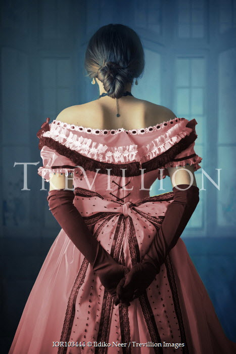 Ildiko Neer Victorian woman in pink ball gown