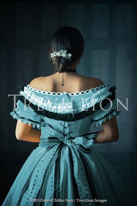 Ildiko Neer Victorian woman in blue ball gown