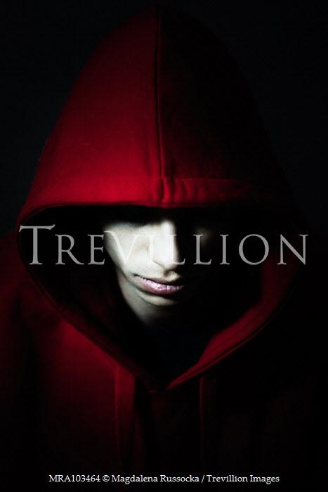 Magdalena Russocka teenage boy wearing red hoodie inside