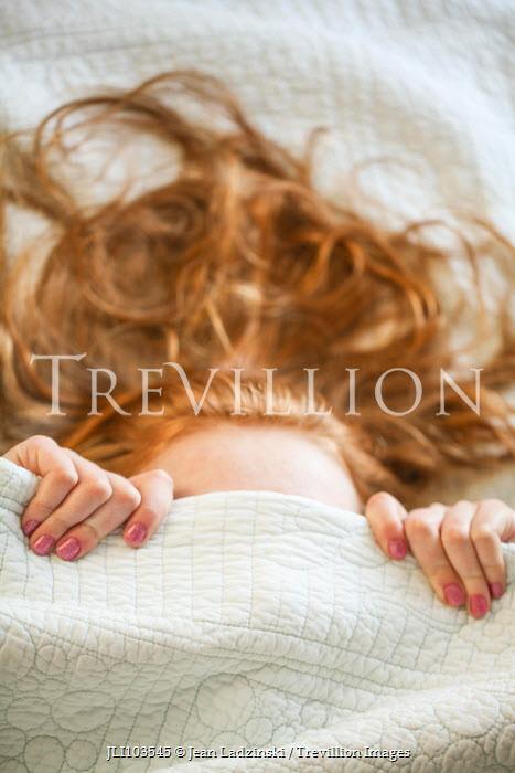 Jean Ladzinski WOMAN HIDING UNDER BED COVERS Women