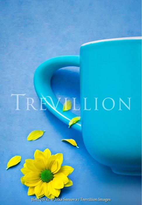 Jitka Saniova BLUE MUG WITH YELLOW FLOWER Miscellaneous Objects