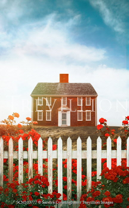 Sandra Cunningham COUNTRY HOUSE WITH RED ROSES AND FENCE Houses