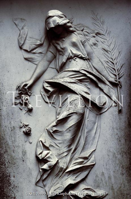 Ute Klaphake SCULPTURE OF WOMAN HOLDING PLANT Statuary/Gravestones