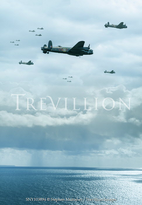 Stephen Mulcahey LANCASTER BOMBERS FLYING OVER SEA Miscellaneous Transport