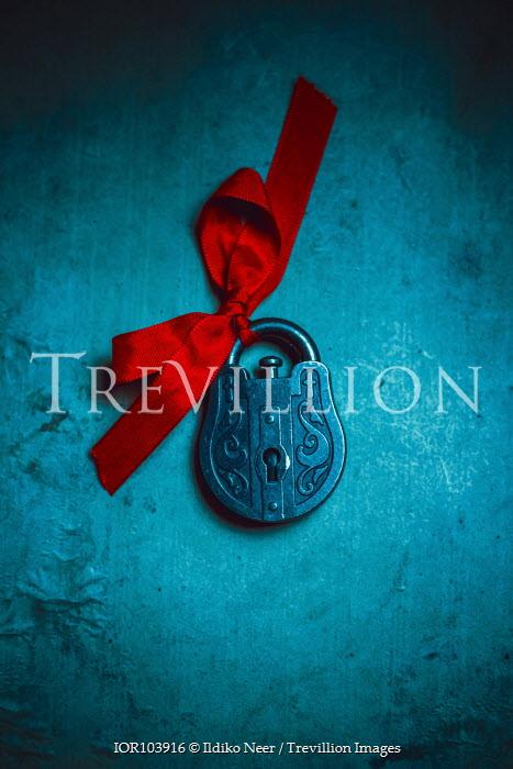 Ildiko Neer Ornate padlock with red ribbon