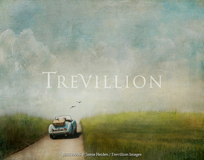 Jamie Heiden COUPLE IN RETRO CAR ON COUNTRY ROAD Couples
