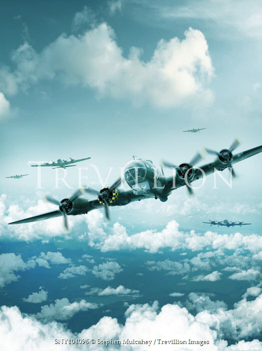 Stephen Mulcahey WWII PLANES FLYING IN SKY WITH CLOUDS Miscellaneous Transport