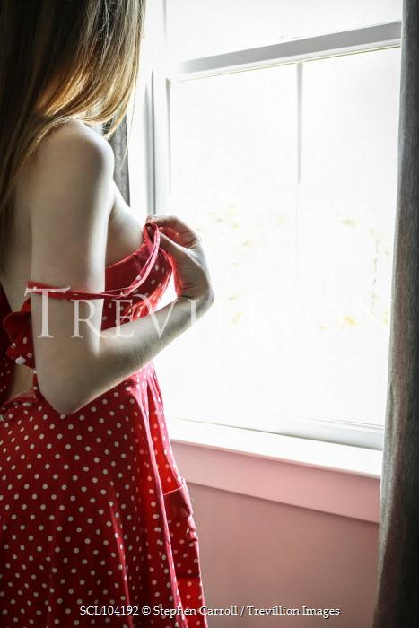 Stephen Carroll WOMAN IN RED DRESS INDOORS BY WINDOW Women