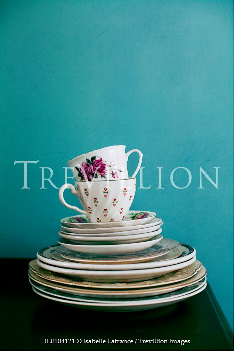 Isabelle Lafrance STACK OF FLORAL TEACUPS SAUCERS AND PLATES Miscellaneous Objects