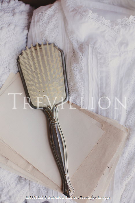 Isabelle Lafrance ANTTIQUE HAIRBRUSH AND LETTERS WITH NIGHTDRESS Miscellaneous Objects
