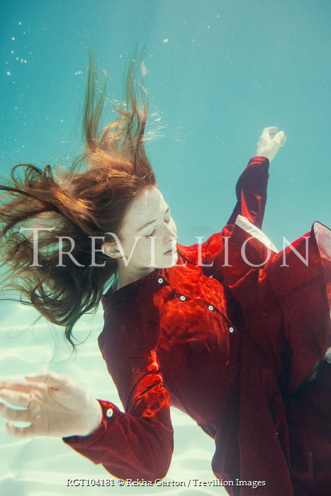 Rekha Garton WOMAN WITH RED HAIR AND DRESS UNDERWATER Women