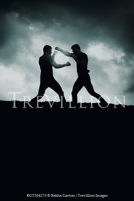 Rekha Garton TWO MEN FIGHTING AT DUSK OUTDOORS Men