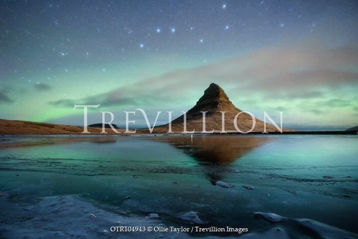 Ollie Taylor MOUNTAIN BY WATER WITH STARRY SKY Rocks/Mountains