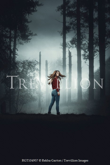 Rekha Garton GIRL STANDING AND TURNING IN FOGGY FOREST Women