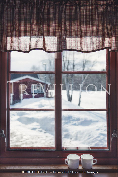 Evelina Kremsdorf CUPS IN WINDOW OF HOUSE IN SNOWY COUNTRYSIDE Houses