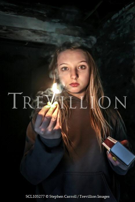 Stephen Carroll GIRL LIGHTING MATCH IN OLD DARK BUILDING Children