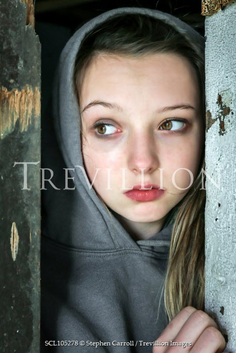 Stephen Carroll YOUNG GIRL PEERING THROUGH OLD DOOR Children