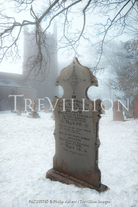 Philip Askew GRAVESTONE IN SNOWY GRAVEYARD Religious Buildings