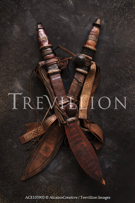 AlcainoCreative TWO ANTIQUE SWORDS IN LEATHER SHEATHS Miscellaneous Objects