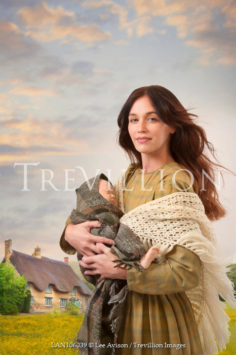Lee Avison working class victorian woman holding a baby