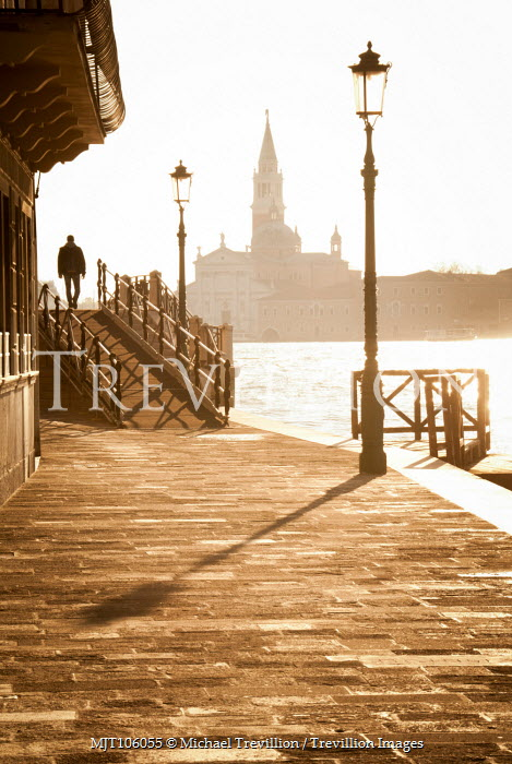 Michael Trevillion MAN WALKING BY VENETIAN CANAL IN SUNLIGHT Miscellaneous Cities/Towns