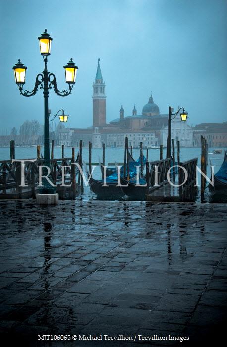Michael Trevillion VENICE WITH GONDOLAS AT DUSK IN RAIN Miscellaneous Cities/Towns