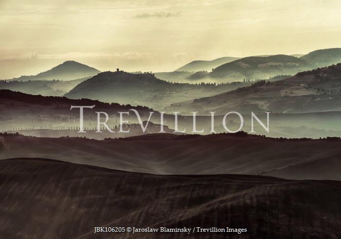 Jaroslaw Blaminsky MISTY HILLS IN ITALIAN LANDSCAPE Fields