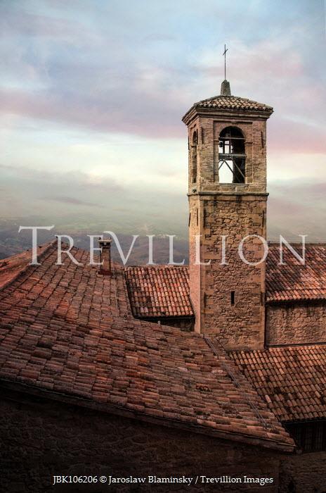 Jaroslaw Blaminsky TOWER OF ITALIAN CHURCH WITH LANDSCAPE Religious Buildings