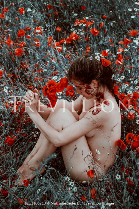 Nathalie Seiferth NAKED WOMAN IN MEADOW WITH POPPIES Women