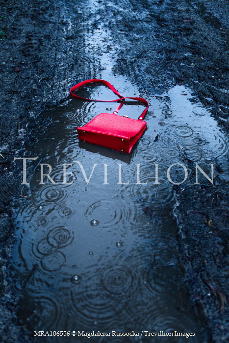 Magdalena Russocka red handbag in rainy puddle Miscellaneous Objects