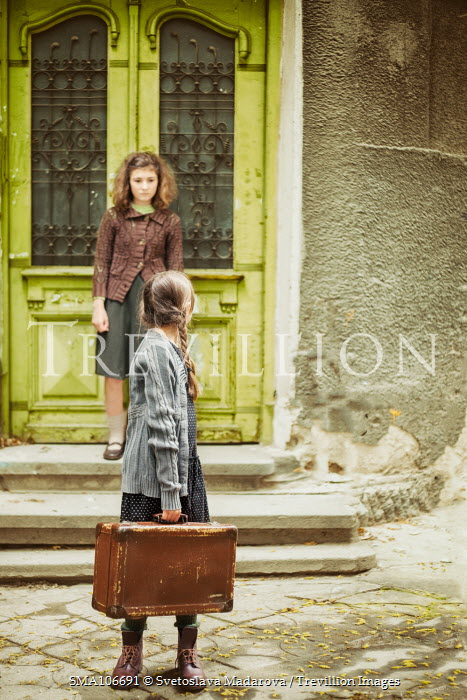Svetoslava Madarova Two retro girls and a suitcase Children
