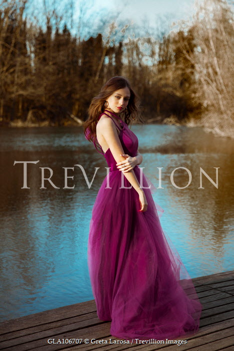 Greta Larosa WOMAN IN LONG PURPLE DRESS NEAR LAKE Women