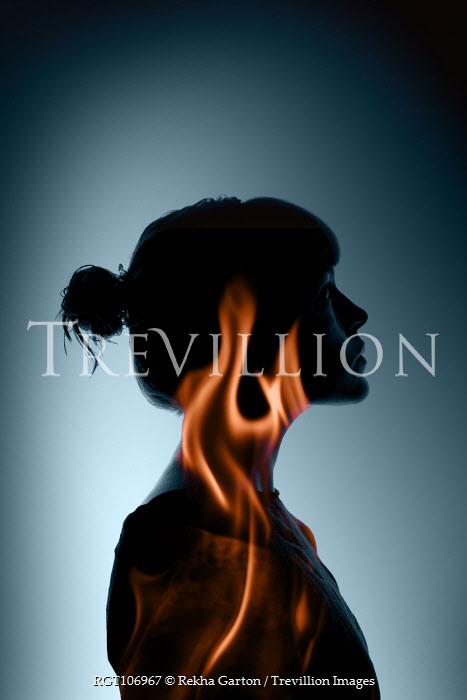 Rekha Garton SILHOUETTE OF WOMAN WITH FLAMES Women