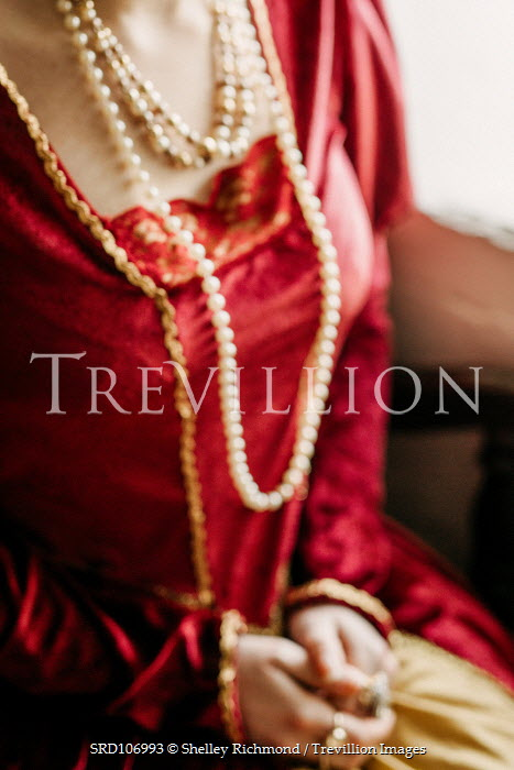 Shelley Richmond HISTORICAL WOMAN WEARING PEARLS AND RED DRESS Women