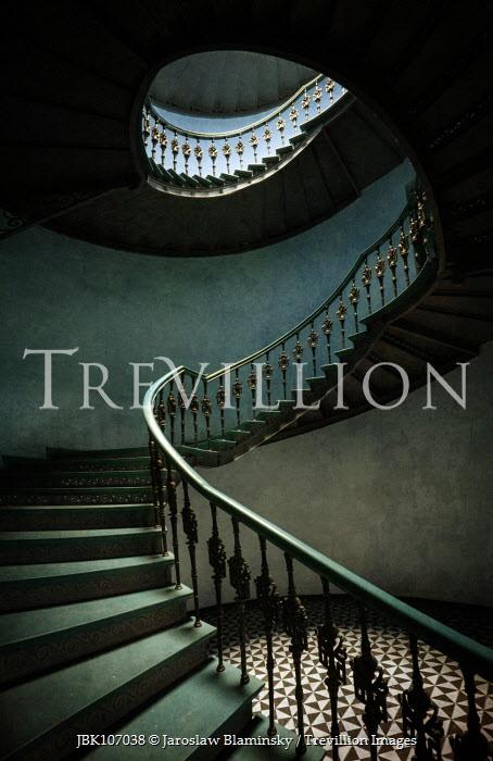 Jaroslaw Blaminsky spiralling staircase and tiled floor Interiors/Rooms