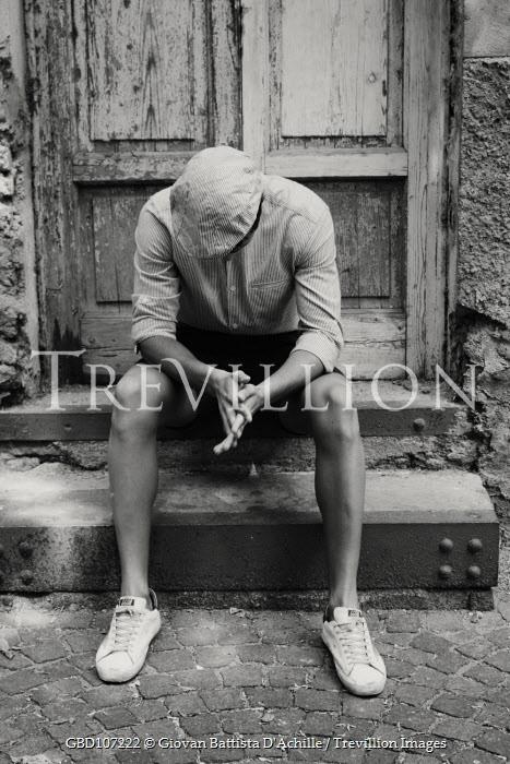 Giovan Battista D'Achille MAN IN CAP SITTING ON STEP OUTSIDE HOUSE Men