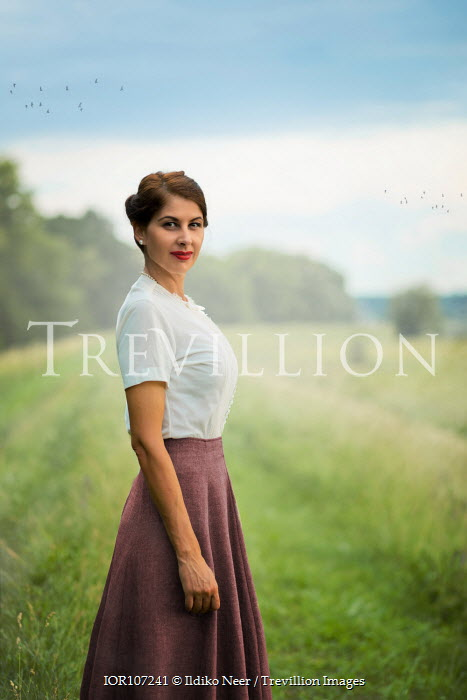 Ildiko Neer Vintage woman standing on field
