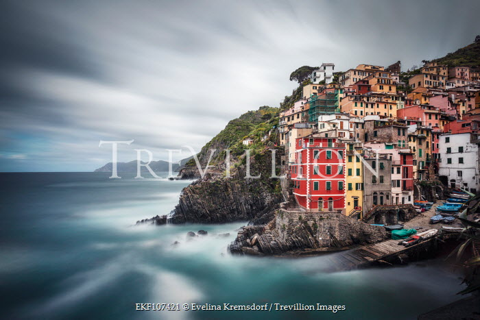 Evelina Kremsdorf VILLAGE ON CLIFFS BY MISTY SEA Villages