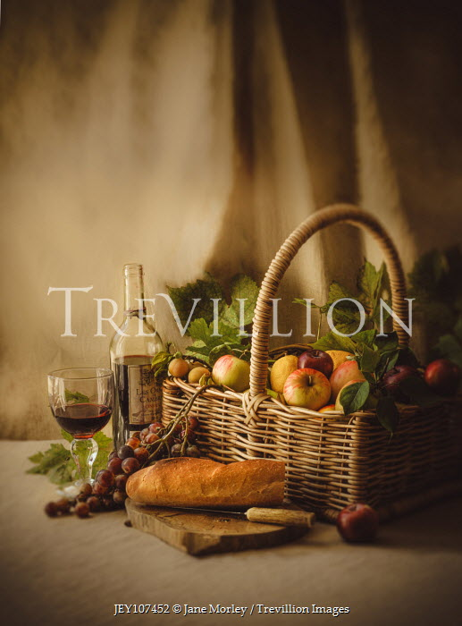 Jane Morley BASKET OF APPLES WITH BREAD AND WINE Miscellaneous Objects