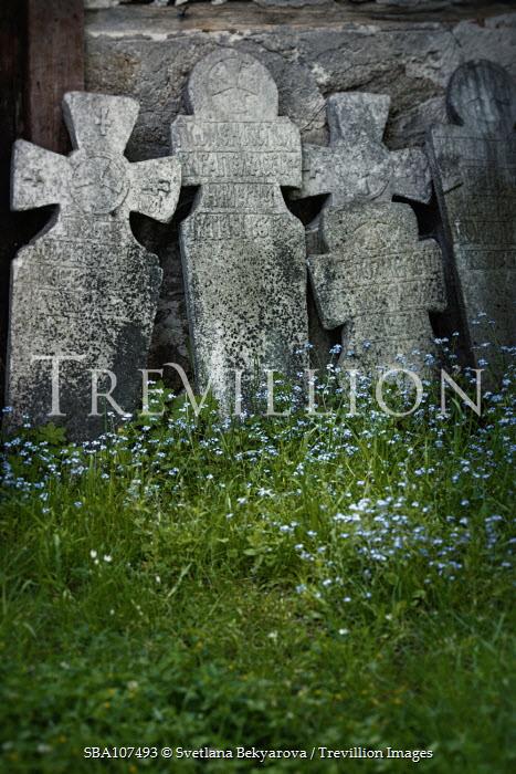 Svetlana Bekyarova LINE OF OLD HEADSTONES WITH FLOWERS Statuary/Gravestones