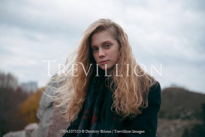 Dmitriy Bilous Girl with flowing blonde hair outdoors Women