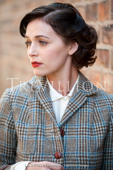 Lee Avison RETRO WOMAN IN TWEED JACKET OUTDOORS Women