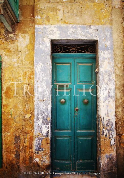 Irene Lamprakou DERELICT STONE ENTRANCE AND GREEN DOOR Building Detail